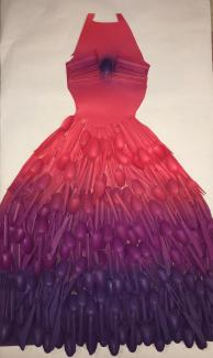 An artwork of a dress in red and purple.