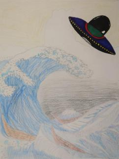 A drawing of a wave with a UFO.