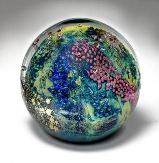 A globe made of glass.