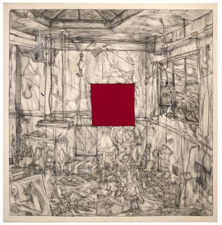 A drawing of a studio space with a red square in the middle.
