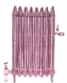 A pink radiator made of polyester fabric.