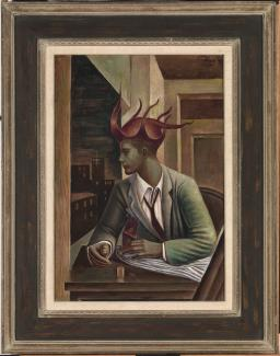 A painting of a person sitting down with a joker hat on.