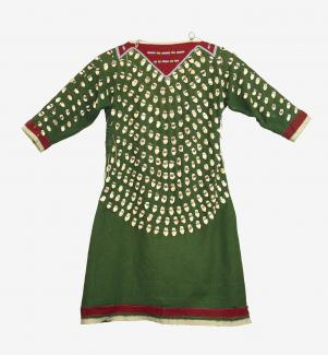 A green dress with beads and red highlights.