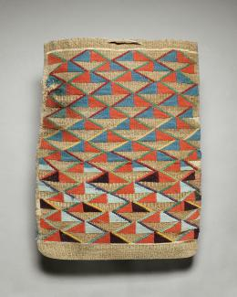 A woven bag with diagonal designs in orange, light blue, and turquoise.
