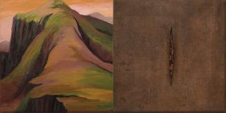 A painting of two scenes. On the left is a moutain in brown and green and on the right is a brown canvas with a line down the middle.