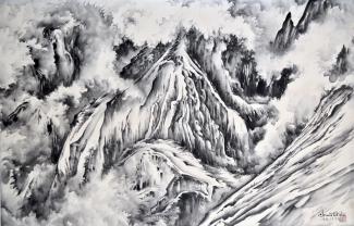 Exhibitions - Chiura Obata, A Snow Storm Nearing Yosemite Government Center, 1939, sumi on silk, 20 7/8 x 32 5/8 inches, Private Collection.