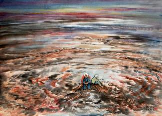 Exhibitions - Chiura Obata, Devastation, 1945, watercolor on paper, 13 x 18 1/2 inches, Private Collection.