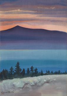 Exhibitions - Chiura Obata, Evening Glow at Mono Lake, from Mono Mills, 1930, color woodcut on paper, 15 3/4 x 10 7/8 inches, Smithsonian American Art Museum, Gift of the Obata Family, 2000.76.10, © 1989, Lillian Yuri Kodani.