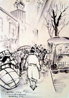 Exhibitions - Chiura Obata, Departure from Berkeley, First Congregational Church, Berkeley, 1942, sumi on paper, 23 3/4 x 14 1/2 inches, Private Collection.