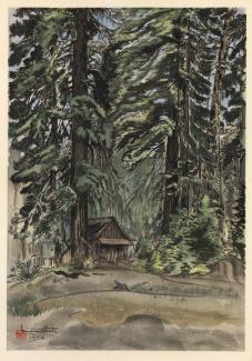 Exhibitions - Chiura Obata, Evening at Carl Inn, 1930, color woodcut on paper, 15 5/8 x 10 7/8 inches, Smithsonian American Art Museum, Gift of the Obata Family, 2000.76.6, © 1989, Lillian Yuri Kodani.