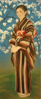 A painting of a woman standing with a flowering tree behind her.
