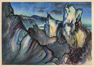 Exhibitions - Chiura Obata, Mono Crater, 1930, color woodcut on paper, 11 x 15 5/8 inches, Smithsonian American Art Museum, Gift of the Obata Family, 2000.76.9, © 1989, Lillian Yuri Kodani.