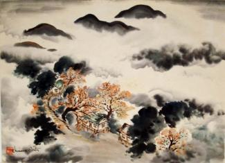 A painting with mountains and mist.