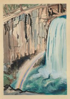 Exhibitions - Chiura Obata, Rainbow Falls, Inyo National Forest, 1930, color woodcut on paper, 15 5/8 x 11 inches, Smithsonian American Art Museum, Gift of the Obata Family, 2000.76.21, © 1989, Lillian Yuri Kodani.