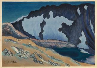 Exhibitions - Chiura Obata, Silence, Last Twilight on an Unknown Lake, Johnson Peak, 1930, color woodcut on paper, 11 x 15 5/8 inches, Smithsonian American Art Museum, Gift of the Obata Family, 2000.76.18, © 1989, Lillian Yuri Kodani.