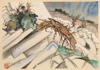 Exhibitions - Chiura Obata, Struggle, Trail to Johnson Peak, 1930, color woodcut on paper, 11 x 15 3/4 inches, Smithsonian American Art Museum, Gift of the Obata Family, 2000.76.4, © 1989, Lillian Yuri Kodani.