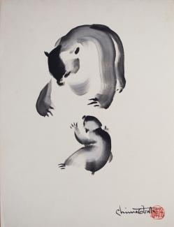 Exhibitions - Chiura Obata, Untitled (Bears), ca. 1930s, ink on paper, 20 1/2 x 15 1/2 inches, Private Collection.