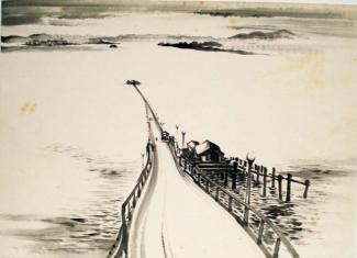 Exhibitions - Chiura Obata, Untitled (Pier), ca. 1930s, ink on paper, 15 x 20 3/4 inches, Private Collection.