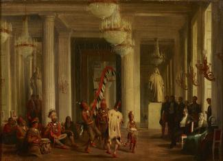 Exhibition - Humboldt, Karl Girardet, Danse d'indiens Iowas devant le roi Louis-Phillipe aux Tuileries (Dance of the Iowa Indians before the King Louis-Phillipe at the Tuileries), 1845, oil on canvas, 15 6/16 x 21 1/16 in., Établissement public du château