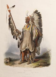 Exhibition - Humboldt, After Karl Bodmer, Johann Hürlimann, engraver, Mató-Tópe, a Mandan Chief, 1839, hand-colored aquatint, plate mark: 20 1/4 x 14 5/8 in., image: 16 1/4 x 12 3/4 in., Joslyn Art Museum, Omaha, Nebraska, Gift of the Enron Art Foundatio