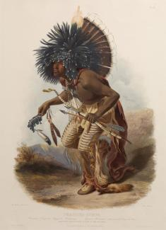 Exhibition - Humboldt, After Karl Bodmer, Louis René Lucien Rollet, engraver, Pehriska-Ruhpa, Moennitarri Warrior in the Costume of the Dog Dance, 1841, aquatint and engraving on paper, plate mark: 21 1/16 x 15 1/4 in., image: 18 5/16 x 13 1/8 in., Joslyn