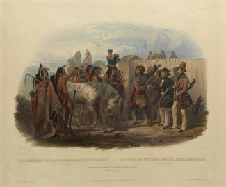 Exhibition - Humboldt, After Karl Bodmer, Alexandre Damien Manceau, engraver, Travellers Meeting Minatarre Indians near Fort Clark, 1842, hand-colored aquatint, plate mark: 11 15/16 x 13 1/2 in., image: 7 3/4 x 11 5/8 in., Joslyn Art Museum, Omaha, Nebras