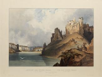 Exhibition - Humboldt, After Karl Bodmer, Charles Beyer, engraver, Friedrich Salathé, engraver, View of the Stone Walls on the Upper Missouri, 1840, hand-colored aquatint, plate mark: 15 7/8 x 20 3/4 in., image: 11 13/16 x 17 ¼ in., Joslyn Art Museum, Oma