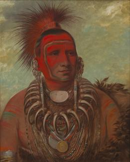 Exhibition - Humboldt, George Catlin, Shon-ta-yi-ga, Little Wolf, a Famous Warrior, 1844–45, oil on canvas, 29 x 24 in., Smithsonian American Art Museum, Gift of Mrs. Joseph Harrison Jr., 1985.66.521, Photo by Gene Young.