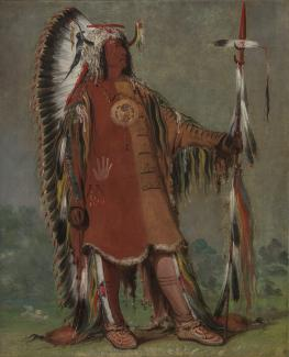 Exhibition - Humboldt, George Catlin, Máh-to-tóh-pa, Four Bears, Second Chief, in Full Dress, 1832, oil on canvas, 29 x 24 in. Smithsonian American Art Museum, Gift of Mrs. Joseph Harrison Jr., 1985.66.128, Photo by Gene Young.
