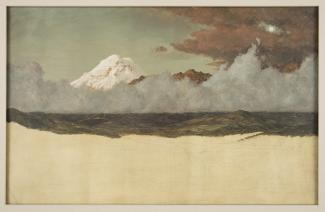 Exhibition - Humboldt, Frederic Edwin Church, Mount Chimborazo through Rising Mist and Clouds, 1857, oil and pencil on paperboard, 13 9/16 x 21 1/8 in. Cooper Hewitt, Smithsonian Design Museum, Gift of Louis P. Church, 1917-4-824, Photo © Cooper Hewitt, S