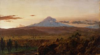 Exhibition - Humboldt, Frederic Edwin Church, Mount Chimborazo at Sunset, 1857, oil on academy board. 12 x 21 2/5 in., Olana State Historic Site, New York State Office of Parks, Recreation and Historic Preservation, OL.1980.1884.