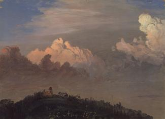 Exhibition - Humboldt, Frederic Edwin Church, Clouds Over Olana, August 1872, oil on paper, 8 2/3 x 12 1/8 in., Olana State Historic Site, New York State Office of Parks, Recreation and Historic Preservation, OL.1976.1.