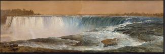 Exhibition - Humboldt, Frederic Edwin Church, Horseshoe Falls, December 1856 – January 1857, oil on paper mounted to canvas, 11 1/2 x 35 5/8 in., Olana State Historic Site, New York State Office of Parks, Recreation and Historic Preservation, OL.1981.15.A