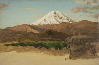Exhibition - Humboldt, Frederic Edwin Church, Mount Chimborazo, Ecuador, 1857, oil and pencil on paperboard, 9 1/4 × 17 1/2 in., Cooper Hewitt, Smithsonian Design Museum, Gift of Louis P. Church, 1917-4-1296-a, Photo: Matt Flynn © Cooper Hewitt, Smithsoni