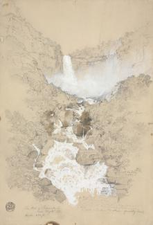 Exhibition - Humboldt, Frederic Edwin Church, Tequendama Falls near Bogotá, Colombia, July 1853, pencil and gouache on paper, 18 1/8 × 12 1/2 in, Cooper Hewitt, Smithsonian Design Museum, Gift of Louis P. Church, 1917-4-260, Photo © Cooper Hewitt, Smithso