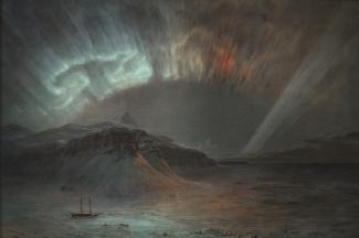 Exhibition - Humboldt, Frederic Edwin Church, Aurora Borealis, 1865, oil on canvas, 56 x 83 1/2 in., Smithsonian American Art Museum, Gift of Eleanor Blodgett, 1911.4.1, Photo by Gene Young.