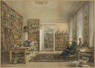Exhibition - Humboldt, After Eduard Hildebrandt, Humboldt in His Library, 1856, chromolithograph on paper, 18 5/8 x 26 5/8 in., Collection of Mr. and Mrs. Robert F. Norfleet Jr., Photo: Travis Fullerton, Courtesy Virginia Museum of Fine Arts.
