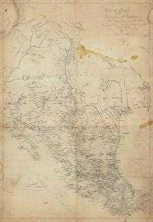 Exhibition - Humboldt, Copy after Alexander von Humboldt, General Chart of the Kingdom of New Spain between Parallels of 16 & 38° N., from Materials in Mexico at the Commencement of year of 1804, 1804, pencil and ink on tracing paper, 37 3/4 x 26 in., Lib