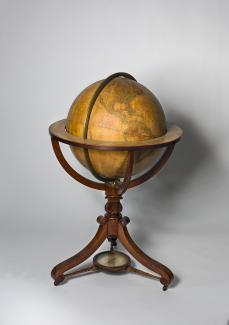 Exhibition - Humboldt, Newton & Son, Newton's New and Improved Terrestrial Globe, 1852, wood, paper, brass, and glass, 42 in. x 26 in. overall, Smithsonian's National Museum of American History.