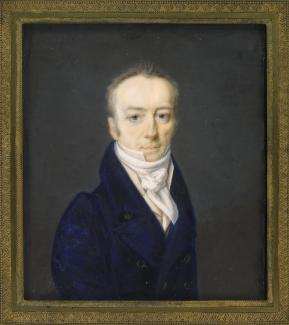 Exhibition - Humboldt, Henri-Joseph Johns, James Smithson, May 11, 1816, gouache on ivory, 3 x 2 3/4 in., National Portrait Gallery, Smithsonian Institution; transfer from the National Museum of American History, Conserved with funds from the Smithsonian