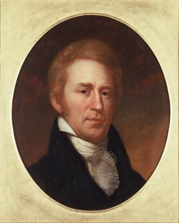 Exhibition - Humboldt, Charles Willson Peale, Portrait of William Clark, 1807, oil on paper mounted on canvas, 25 x 21 1/4 in., Independence National Historic Park Collection, Philadelphia, PA.