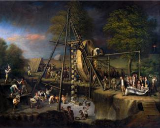 Exhibition - Humboldt, Charles Willson Peale, Exhumation of the Mastodon, ca. 1806–08, oil on canvas, 49 x 61 1/2 in., Maryland Historical Society, Baltimore City Life Museum Collection, Gift of Bertha White in memory of her husband, Harry White, BCLM-MA.
