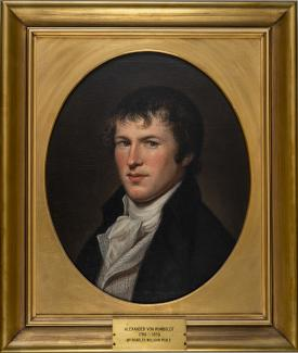 Exhibition - Humboldt, Charles Willson Peale, Portrait of Baron von Humboldt, 1804, oil on canvas, 21 x 17 in., The College of Physicians of Philadelphia, The image of the Baron Von Humboldt is used by kind permission of The College of Physicians of Phila