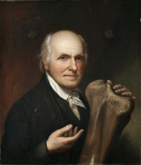 Exhibition - Humboldt, Charles Willson Peale, Self-Portrait with Mastodon Bone, 1824, oil on canvas, 26 1/4 x 22 in., New-York Historical Society, Purchase, James B. Wilbur Fund, Photography ©New-York Historical Society, negative #8736c.