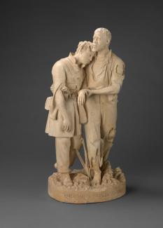 Exhibition - Humboldt, John Rogers, The Wounded Scout, a Friend in the Swamp, 1864, painted plaster, 22 1/8 x 11 1/8 x 8 1/4 in., Smithsonian American Art Museum, Gift of John Rogers and son, 1882.1.5, Photo by Mildred Baldwin.