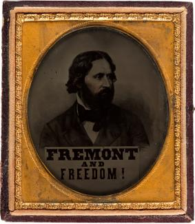 "Exhibition - Humboldt, Unidentified photographer, John C. Frémont with "" Fremont and Freedom"" banner, 1856, ambrotype housed in half of original leatherette case, 3 1/4 x 3 3/4 in., Collection of Alan V. Weinberg, Photo courtesy Heritage Auctions."