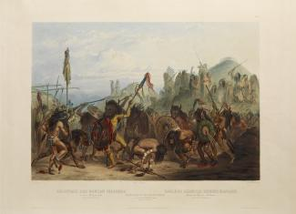Exhibitions - Humboldt, After Karl Bodmer, Alexandre Damien Manceau, engraver, Bison Dance of the Mandan Indians in front of Their Medicine Lodge in Mih-Tutta-Hankush, 1842, hand-colored aquatint, plate mark: 16 1/2 x 21 5/16 in., image: 12 1/16 x 17 3/8