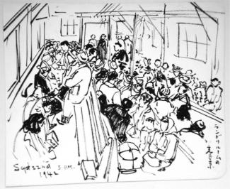 Exhibitions - Chiura Obata, Gathering in the Laundry Room, Tanforan, 5 p.m., September 22, 1942, sumi on paper, 9 x 11 inches, Private Collection.