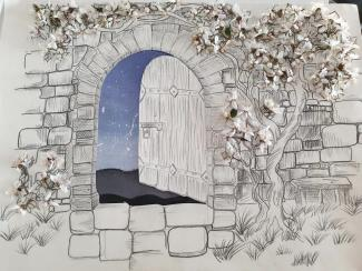 A drawing of a doorway in a wall