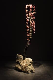 A photograph of artwork resembling flowers